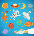 astronaut planets rockets vector image