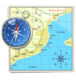 Beach Map with Compass vector image