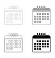 calendar the black and grey color set icon vector image