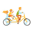 father and children riding on tandem bicycle vector image