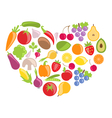 Set Colorful Vegetables and Fruits in Heart Shape vector image