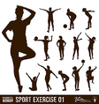 Silhouette people exercise design background vector image