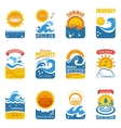 Summer Label Set With Wave And Sun vector image