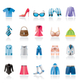 Fashion and clothing and accessories icons vector image vector image