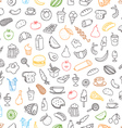Different color food doodles seamless background vector image