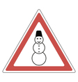 sign snowman attention vector image