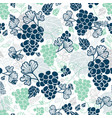 blue and mint green grapevines fruit repeat vector image