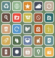 Ecology flat icons on green background vector image