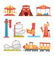 amusement park elements set funfair attraction vector image