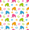 Seamless Texture with Colorful Cartoon Elephants vector image
