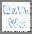 sketch 3d alphabet letters - UVW vector image vector image