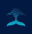 Blue whale strips logo sign on dark background vector image