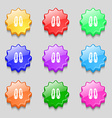 shoes icon sign symbol on nine wavy colourful vector image