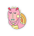 sweet pink dragon with closed eyes cloth patch vector image