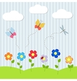 Background with flowers and flying dragonflies vector image vector image