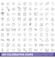 100 celebration icons set outline style vector image