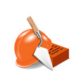 helmet and bricks vector image