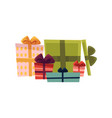 holiday present gift boxes pile vector image