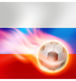 Burning football on Russia flag background vector image