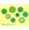 Christmas bulbs on a yellow background vector image