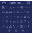 Set of furniture outline icons Thin line design vector image
