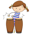 Girl and drums vector image