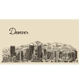 Denver skyline engraved hand drawn sketch vector image