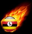 Round glossy icon of uganda vector image