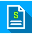Invoice Page Flat Long Shadow Square Icon vector image