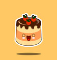 cake kawaii character cartoon tart emoticon face vector image