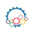 color cogs gears on light background vector image