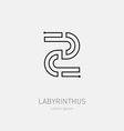 Number 2 Labyrinth logo template Line art rebus vector image