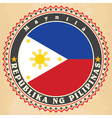 Vintage label cards of Philippines flag vector image