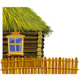 Wooden house with thatched roof and fence vector image