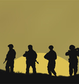Four soldiers on a background a sun vector image