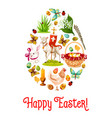 easter egg poster with cartoon holiday symbols vector image
