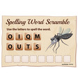 spelling word scramble game with word mosquito vector image vector image