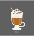 irish glass mug with coffee glace flat vector image