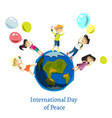 children celebrate world peace day vector image
