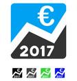 2017 euro chart flat icon vector image