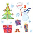 Christmas symbols set funny cartoon vector image