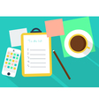 Workspace with coffee and reminder vector image