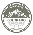 Snowbound Rocky Mountains - Colorado Aspen label vector image