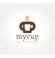 Abstract man with coffe cup logo icon concept vector image