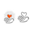 charity life love health logo heart in hand vector image