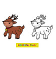 coloring book deer vector image