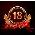 Eighteen years anniversary celebration with golden vector image