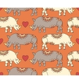 pattern with colorful rhinoceroses vector image