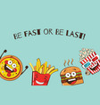 set of funny fast food icons cartoon face food vector image