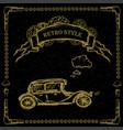steampunk retro cars on black vector image